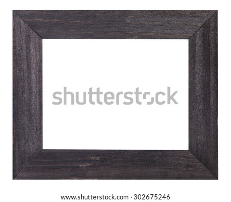 black painted flat wooden picture frame with cut out blank space isolated on white background - stock photo