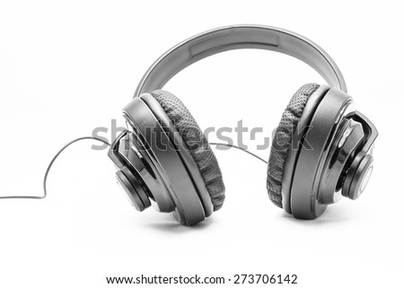Black Pair of Headphones on a White Background - stock photo