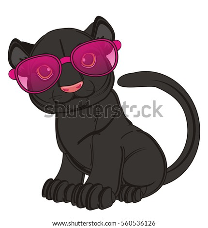 black panther  in pink sunglasses sit