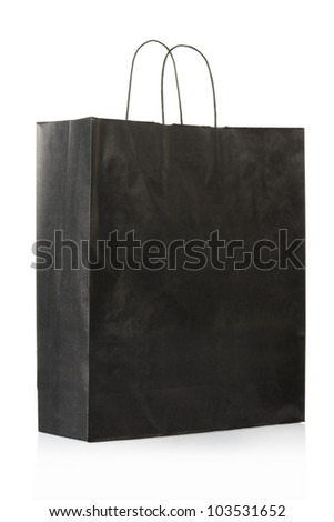 Black paper bag or shopper isolated on white, clipping path included - stock photo