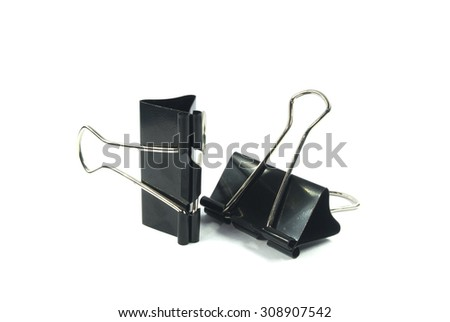 Black paper clip - stock photo