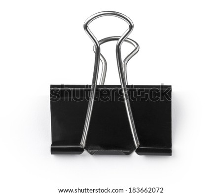 Black Paper clip isolated on white background.. with clipping path - stock photo