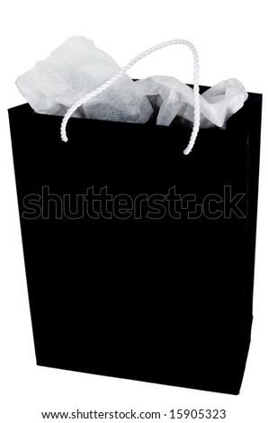 black paper shopping bag on white background - stock photo