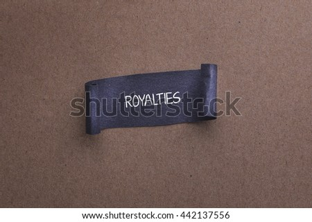 Black papper with ROYALTIES word on wooden background - stock photo