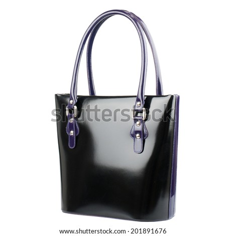 Black patent female leather bag isolated on white background.