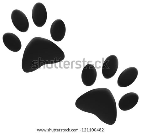 Black paw print - stock photo