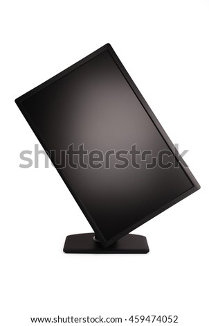 Black PC monitor white background with soft shadow (Clipping path) - stock photo