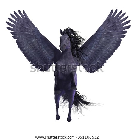 Black Pegasus on White - Pegasus is a divine mythical creature that has the form of a winged stallion horse.