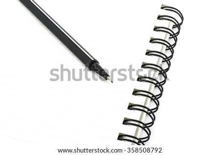 black pen with notebook isolated on white background - stock photo