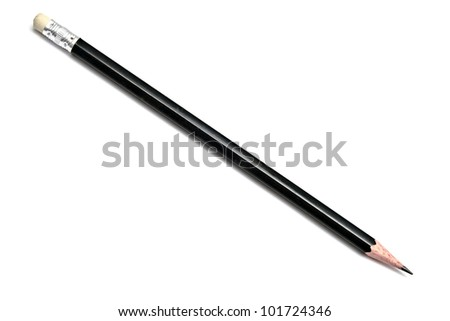 Black pencil isolated on white background - stock photo