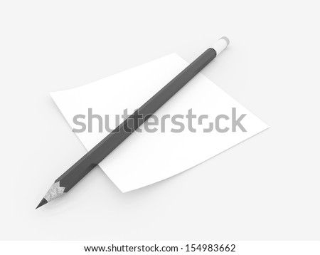 Black pencil with note rendered on white background