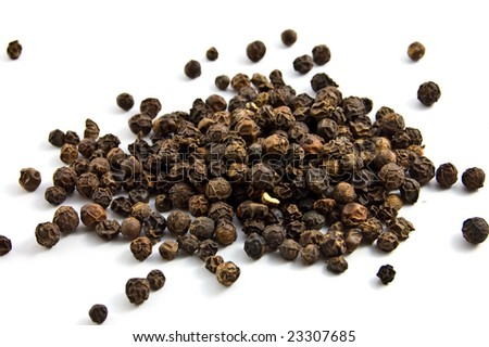 black pepper isolated on the white background - stock photo