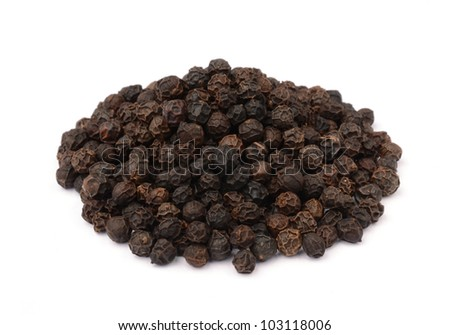 Black pepper on white background - stock photo