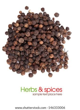 Black Pepper on white background - stock photo