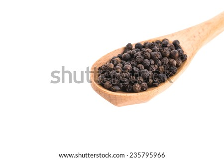 Black pepper on wooden spoon isolated on white background