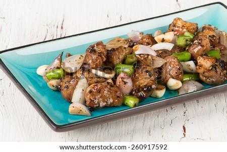 Black pepper pork with vegetables - stock photo