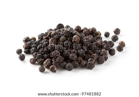 Black pepper was placed on a white background - stock photo