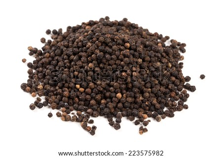 Black pepper was placed on a white background and isolated - stock photo