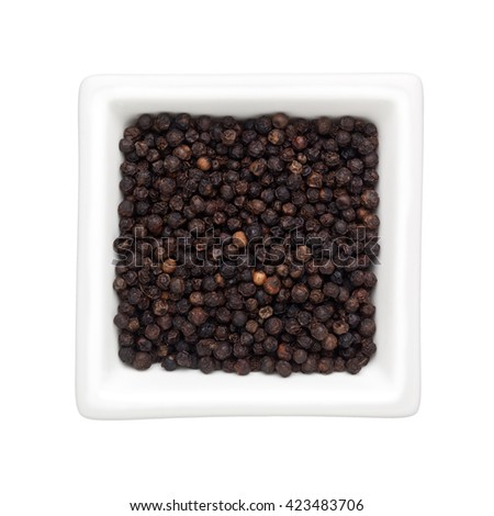 Black peppercorns in a square bowl isolated on white background - stock photo