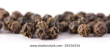 Black peppercorns, Macro shot, shallow DOF - stock photo