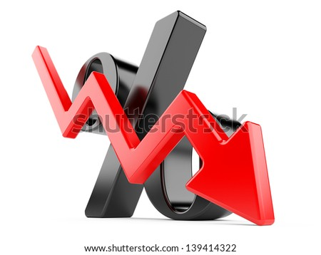 black percent symbol with an arrow down. 3d illustration isolated on a white - stock photo