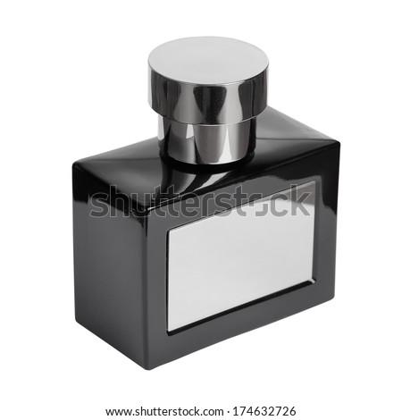 Black perfume bottle isolated - stock photo