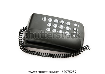 Black phone isolated on the white background