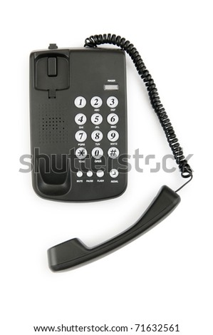 Black phone isolated on the white background - stock photo