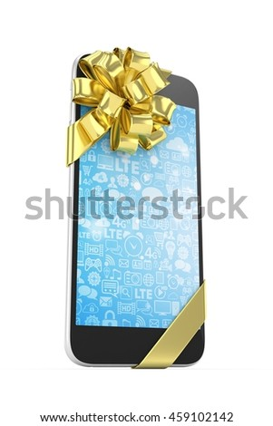 Black phone with golden bow and blue screen. 3D rendering.
