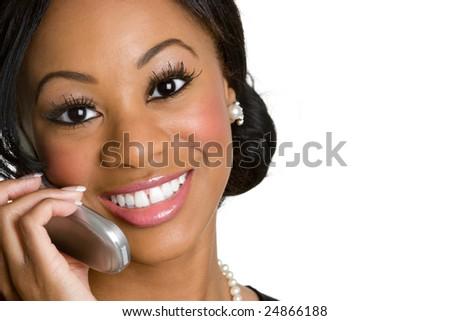 Black Phone Woman - stock photo