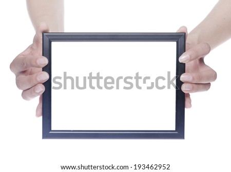 Black photo frame in hands isolated on white background - stock photo