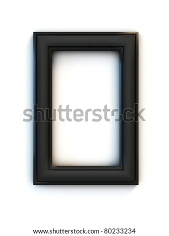black photo frame over white background - stock photo