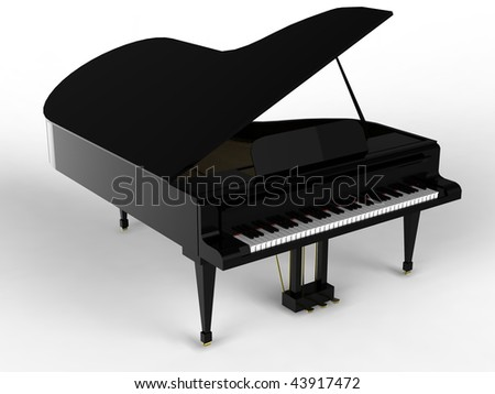 black piano isolated - stock photo