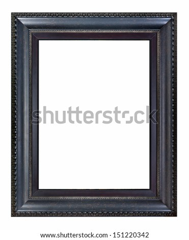 Black picture frame isolated on white background. - stock photo