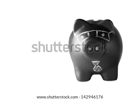 Black piggy bank, isolated, stacked focus.