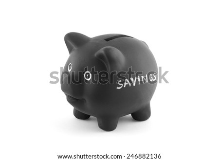 Black piggy bank with word savings. Clipping path included. - stock photo