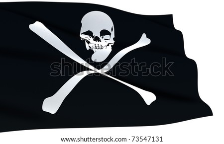 Black pirate flag with skull and crossbones symbol waving isolated on white