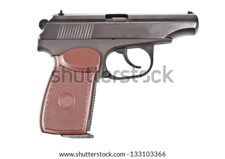 black pistol on white background - stock photo