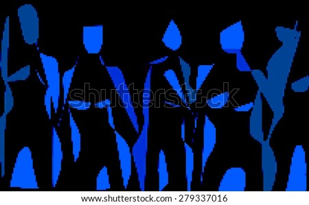 Black pixel blue neon stylized fashion sketch abstraction - stock photo