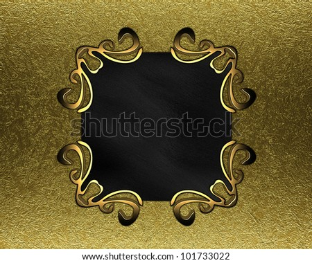 black plaque with gold ornaments on a gold background