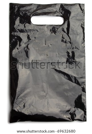 Black plastic bag die cut handle  isolated on white - stock photo