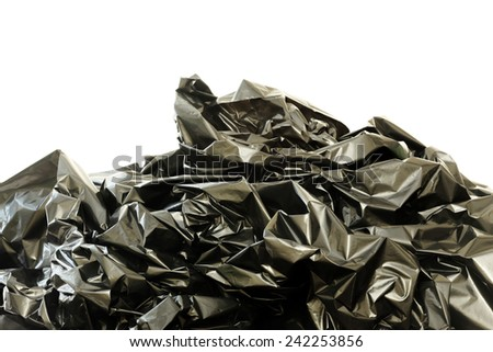 Black plastic bags on a white background - stock photo