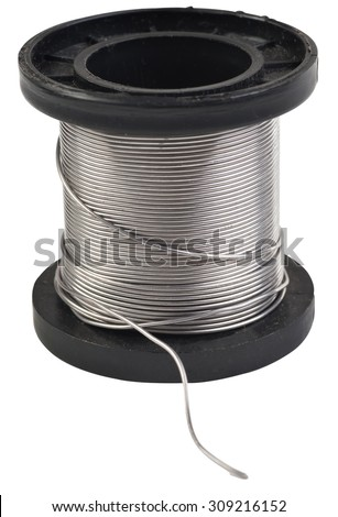 black plastic coil with tin isolated on white background