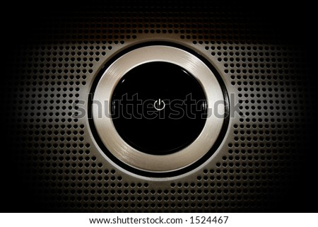 Black Plastic Power Button close-up Concentrade on the button - stock photo