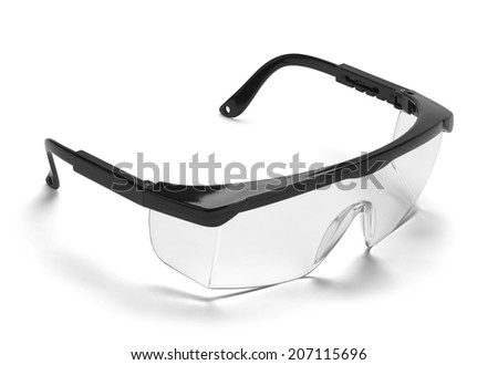 Black Plastic Protective Work Glasses Isolated on a White Background. - stock photo