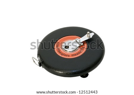 Black plastic round case holding measuring tape