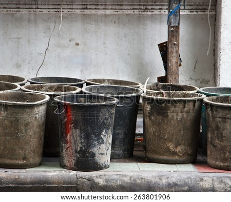 Black Plastic Waste Container - stock photo