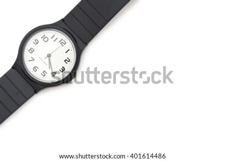 black plastic wrist watch. - stock photo
