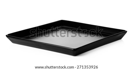 black plate isolated on a white background. - stock photo