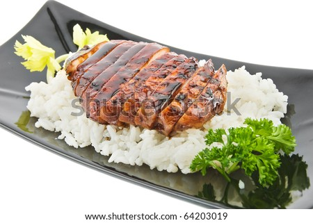 black plate with chicken and rice on white - stock photo